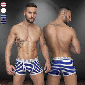 2015 New stripe men's stretched cotton contrast trunk high quality men boxer short underwear lingerie intimate mens undergarment - thefashionique