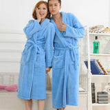 2016 Autumn Winter Bathrobes For Women Men Lady's Long Sleeve Flannel Robe Female Male Sleepwear Lounges Homewear pyjamas - thefashionique