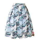 2016 Europe And America New Vintage Print Blue Waves Umbrella Skirt Audrey Hepburn Small Fresh Literary Range Lady Skirt
