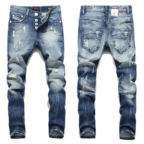 2016 New Hot Sale Fashion Men Jeans Balplein Brand Straight Fit Ripped Jeans Italian Designer Distressed Denim Jeans Homme!A982