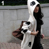2016 New Product Women's Skull Zipper Sweater Hooded Cardigan Casual Hoodies Jacket Coat Tops - thefashionique