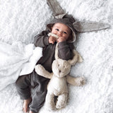 2016 Newborn Infant Baby Girl Boy Clothes Cute 3D Bunny Ear Romper Jumpsuit Playsuit Autumn Winter Warm Bebes Rompers One Piece - thefashionique