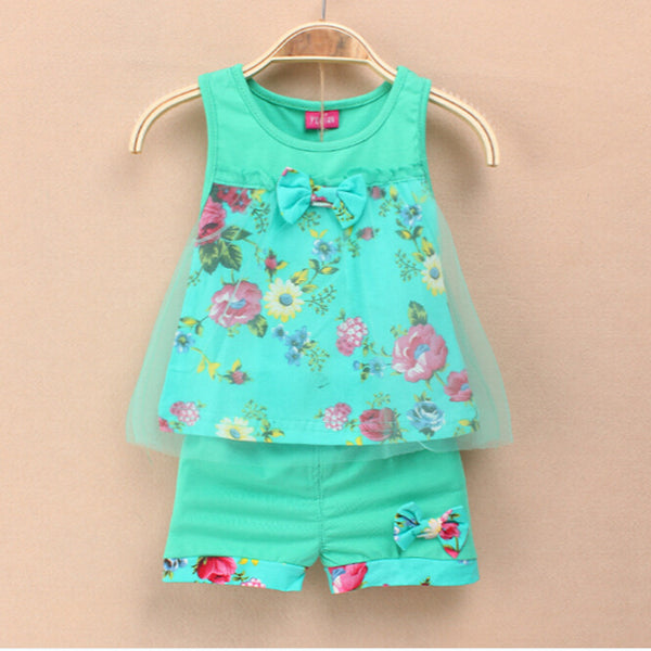 2016 Summer New Fashion Baby Girls Kids Outfits Suits Tops Shorts Bow Tulle Suit  2-5Y - thefashionique