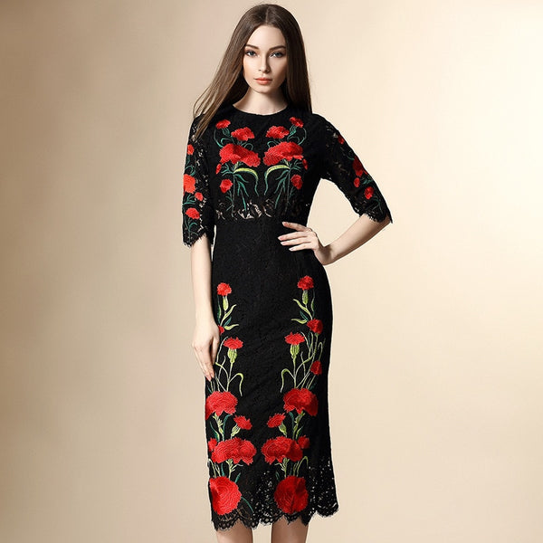 2016 Summer runway designer clothes for women's high quality Black Floral Embroidered Lace Dress - thefashionique