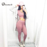 2016 fashion women suit set  Hooded Sashes crop top and pants set lady clothing outfits rompers  two piece set - thefashionique