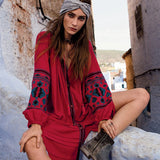 2016 new autumn button o-neck cotton dress bohemian embroidery with button wide fit loose red leisure folk kaftans - thefashionique