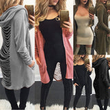 2017 Autumn and winter new Gothic Women Ladies Cut Out Cardigan Long Ripped Back Hooded Hoodie Coat Sweater fashion - thefashionique