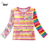 2017 Baby girl with long sleeves shirt Children 100% cotton Girl color rainbow Butterfly embroidery Children's clothing  L211 - thefashionique