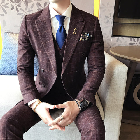 2017 Blue Wedding Suits For Mens Formal Vintage Plaid Suits Classic Mens Cotton Double Breasted Suits Mens Terno Azul Slim Fit