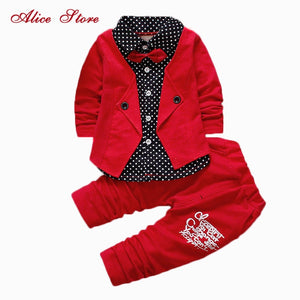2017 Boys Spring Two Fake Clothing Sets Kids Boys Button Letter Bow Suit Sets Children Jacket + Pants 2 pcs Clothing Set Baby - thefashionique