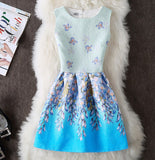 2017 Brand New Spring Summer Dress Women's Clothing Sexy Party Butterfly Princess Sleeveless Vintage Print Dress Vestidos - thefashionique