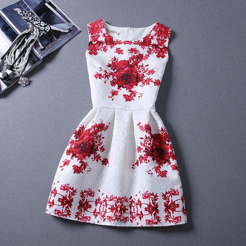 2017 Brand New Spring Summer Dress Women's Clothing Sexy Party Butterfly Princess Sleeveless Vintage Print Dress Vestidos