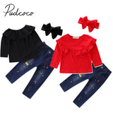 2017 Brand New Toddler Infant Kids Baby Girl Solid T-Shirt Tops Denim Jeans Pants 3Pcs Sets Fashion Clothes Autumn Outfit 2-7T - thefashionique
