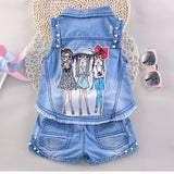 2017 Cartoon Print Summer Girls Clothing Sets Baby Toddler Kids Girl Clothes Denim Sleeveless Tops+Short Pant 2Pcs Suit JW1317 - thefashionique