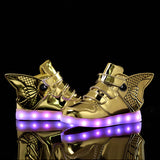 2017 Fashion LED luminous for kids children casual shoes glowing usb charging boys & girls sneaker with 7 colors light up Wing - thefashionique