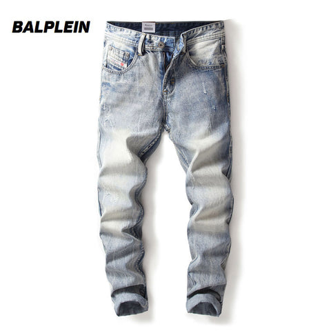 2017 Fashion Mens Jeans Balplein brand Winter Jeans Men Thick Pants Slim Fit Destroyed Ripped Jeans Homme Dropshipping Men Jeans