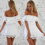 2017 Fashion women Elegant Vintage sweet lace white Dress stylish sexy slash neck casual slim beach Summer Sundress vestidos - thefashionique