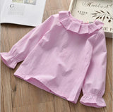 2017 Hot Sale Autumn Spring Baby Girls Shirts&Blouses Peter Pan Collar Ruffles Children 100% Cotton Base Shirt Kids Clothing - thefashionique