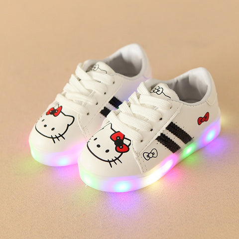 2017 LED lighted fashion cartoon children casual sneakers Lovely princess  baby boys girls shoes high quality 41db006c4