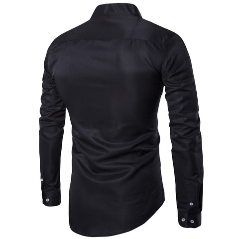 2017 Man Long Sleeve Shirts Black Male Tops Men Clothing Undergarments Stand Collar Black White High quality  947 - thefashionique