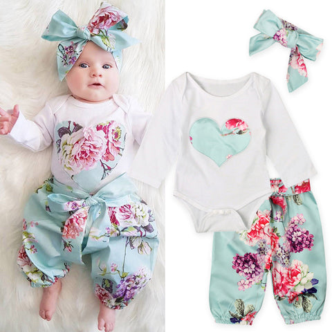2017 New Fashion Baby Clothing Set Baby Girls Sets Romper Tops+Bow bloomers Floral Pants+Headbands 3PCS Outfits Set Suits
