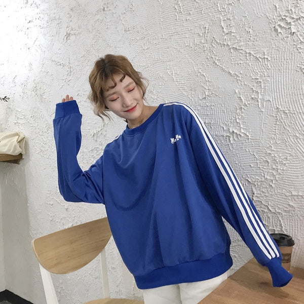 2017 New Fashion Halajuku Loose Letter Printed College Wind All Match Vintage Long Sleeve Female Sweatshirts - thefashionique