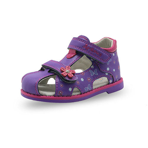2017 New Summer Children Sandals for Girls PU Leather Floral Princess Orthopedic Shoes Closed Toe Toddler Kids Girls Sandals - thefashionique
