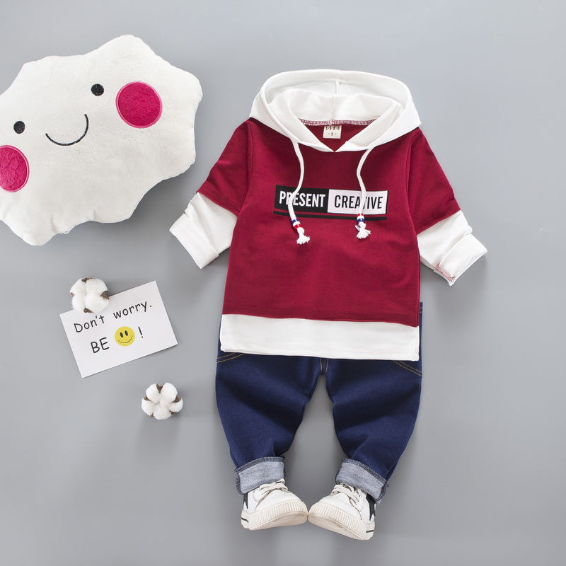 2017 New autumn fashion Childrens baby Boys/Girls clothes Suit Newborn Cotton Hooded Jacket+Jeans Pants 2pcs Sets Baby Clothes - thefashionique