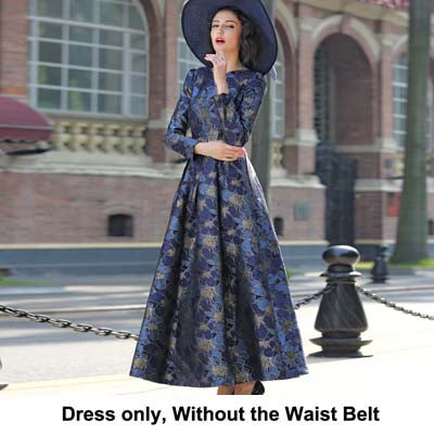 2017 S-3XL Elegant Gold Jacquard Women Maxi Dress Fall V neck Long Sleeve Muslim Lady Party Dresses Robe Long Femme - thefashionique