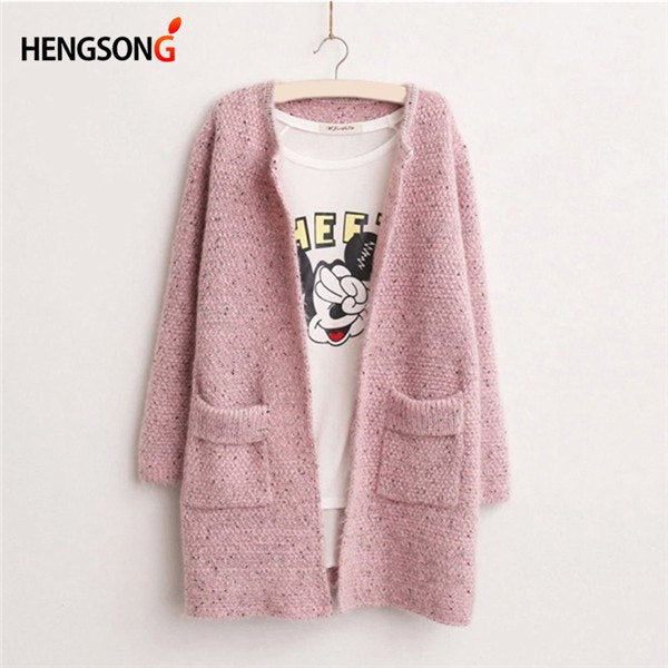 2017 Spring Autumn New Loose Knitted Jacket Coat Women Long Cardigan Knitwear Coat Pink Blue Sweater Jacket With Pocket NQ908318 - thefashionique