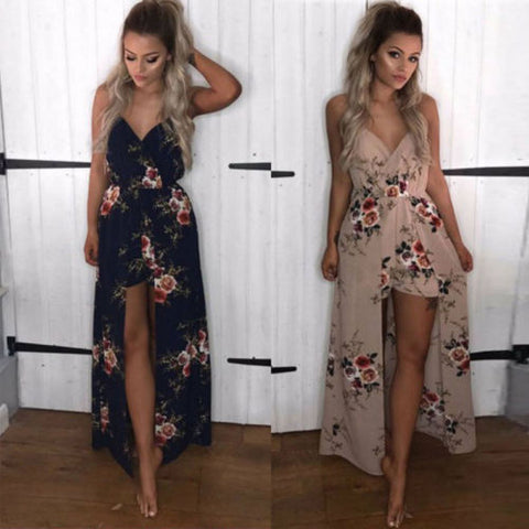 2017 Summer Autumn Rompers Womens Jumpsuit Sexy Deep V Neck Sleeveless Ruffled Vintage Print Bodysuit Casual Beach Playsuit