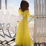 2017 Summer Chiffon Maxi Dress  Women Clothing Off The Shoulder Long Dress Snash Neck Robe Femme Pink Vestidos Mujer - thefashionique