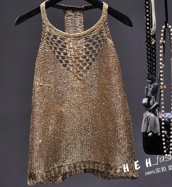 2017 Summer sexy hollow out knitted camis women shiny bling bling sequined tanks tops women shiny sequins tanks gold camis tops - thefashionique
