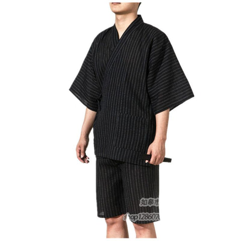 2017 Traditional Japanese Kimonos Men's Japan Cotton Yukata Men's Lounge Home Clothing Suits Men's Sleepwear Pajamas 062509