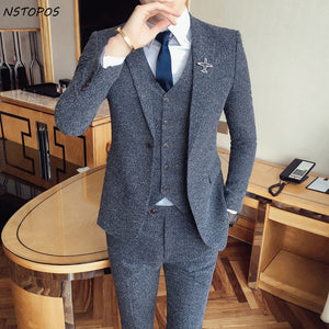 2017 Tweed suit Latest Coat Pant Designs Vintage Mens Suit Terno Masculino Costume Homme Marriage Groom Men Suits For Wedding - thefashionique