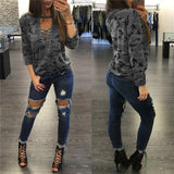 2017 Women Camouflage Sweatshirt V-Neck Hoodies Pullovers Female Long Sleeve Bandage Tracksuits Jumper Tops Sudaderas Mujer - thefashionique