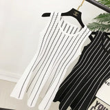 2017 Women Knit Striped Dress Sleeveless O Neck Knitting Costumes Woman Female Slim Dresses - thefashionique