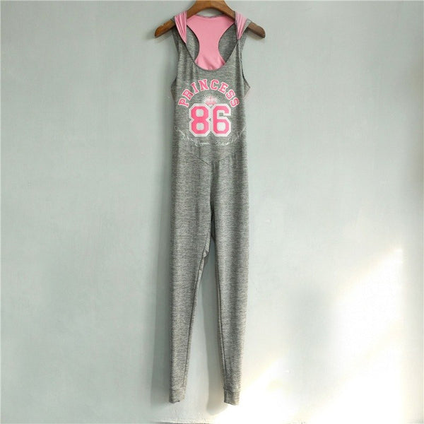 2017 Women Sporting Jumpsuit Hooded Letter Printed Light Gray Back Hollow Bodysuit Top Gymming Clothing for Women - thefashionique