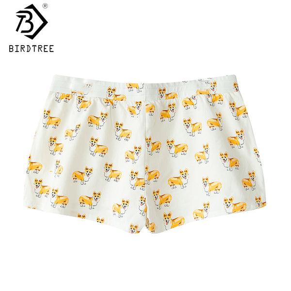2017 Women's Cute Corgi Cartoon Print Casual Shorts Loose Lounge White Elastic Waist Stretchy Cotton Plus Size B79502J - thefashionique