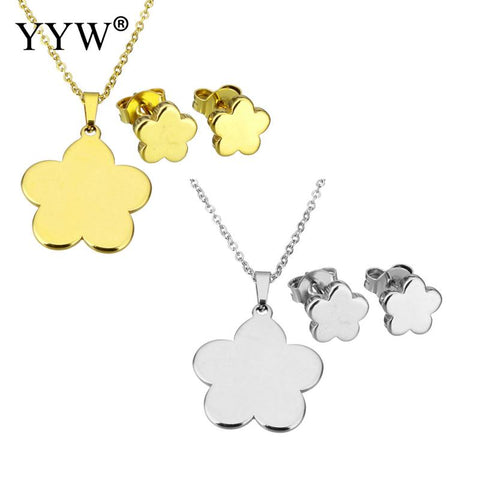 2017 gold Stainless Steel Jewelry Sets earring & necklace Flower plated for woman more colors 17.8 Inch Sold By Set - thefashionique