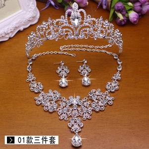 2017 more style  Bridal Wedding Jewelry Set Rhinestone Tiara Crown Necklace Earrings - thefashionique