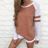 2017 new arrivals red white stripe patchwork casual women tops tees long sleeve vintage simple style o-neck t-shirt ladies solid - thefashionique
