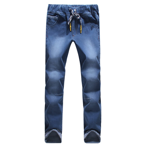 2017 new seasons style high quality fashion slim straightfeet mens jeans elastic waist fasten belt jeans large size S-5XL