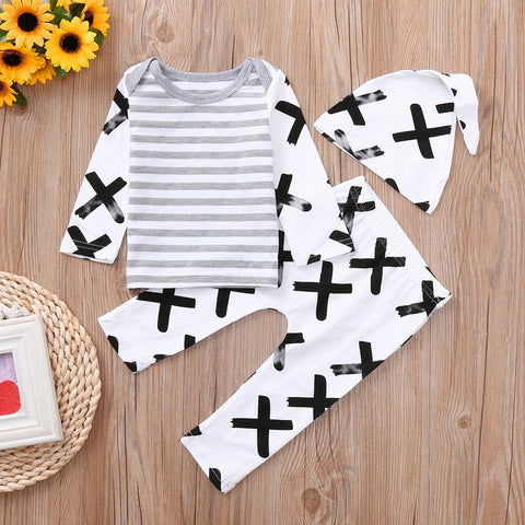 2018 3PC Casual Daily Party Blend Newborn Baby Boys Girls Striped Print Tops+Pants+Hat Casual Set Clothes Baby Clothing set 30 - thefashionique