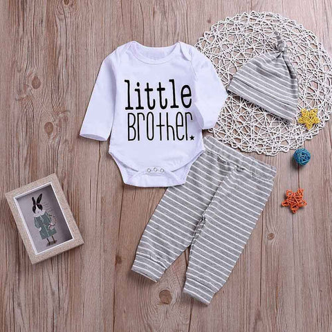 2018 3PCS Newborn Baby Boys Girls Toddler Kids Baby Letter Print Romper+Stripe Print Pants+Hat Set Outfit Baby Clothing set 30 - thefashionique