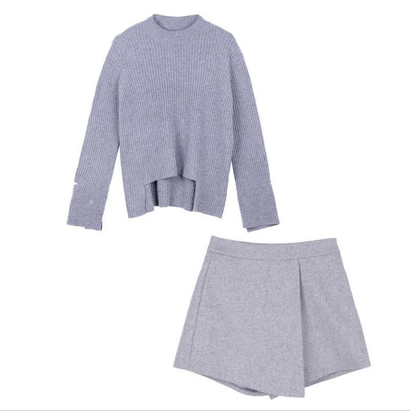 2018 AUTUMN Winter 2 Pieces Sweater Dress Set Women Long Sleeve Office Wear Casual Gray Pullover Knitted Dresses Clothing Suit - thefashionique