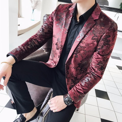 2018 Americana Hombre Stage Clothes For Singers Mens Burgundy Blazers Red For Mens 5XL Flower Printed Blazer Masculino Slim Fit