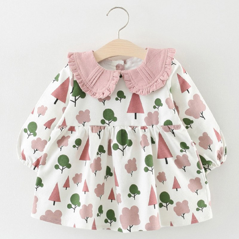 2018 Autumn Cute Vestido Infantil Princess Dress Tree Print Christmas Dress Birthday Party Baby Girl Dress Winter Girls Clothes - thefashionique
