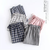 2018 Autumn Female Brand homewear Women Casual Plaid sleepwear bottom Ladies full length nighty Pants Female Cotton Trousers - thefashionique