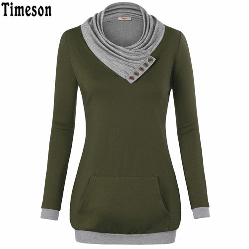 2018 Autumn Long Sleeve Kangaroo Pocket Women Hoodies Scarf Neck Casual Knitted Patchwork Pullovers  Female Out Wear Tee Shirt - thefashionique